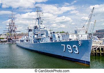 navire guerre, port, boston, jeune, uss, cassin