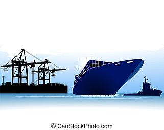 navire porte-conteneurs, appeler, à, a, port