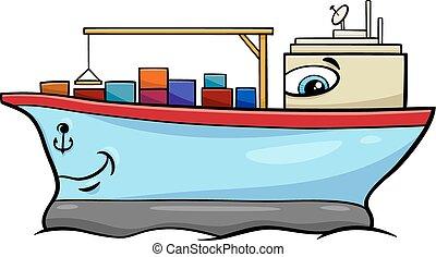 navire porte-conteneurs, caractère, dessin animé