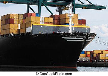 navire porte-conteneurs, closeup