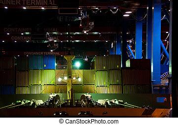 navire porte-conteneurs, par, nuit