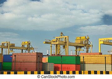 navire porte-conteneurs, partir, les, récipient, port, terminal