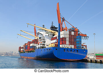 navire porte-conteneurs, port