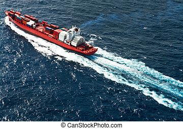 navire porte-conteneurs, vue aérienne