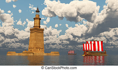 navires guerre, grec, phare, alexandrie, ancien