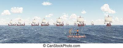 navires guerre, radeau, romain, ancien, homme