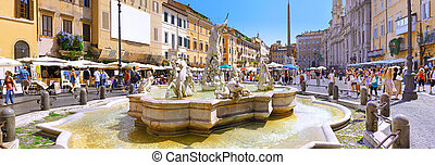 Navona Square, centre of  Rome, Italy.  Panorama