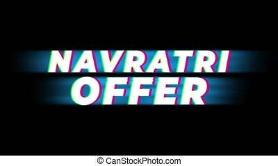 Navratri Offer Text Glitch Effect Promotion Commercial Loop Background. Price Tag, Sale, Discounts, Deals, Special Offers, Green Screen and Alpha Matte