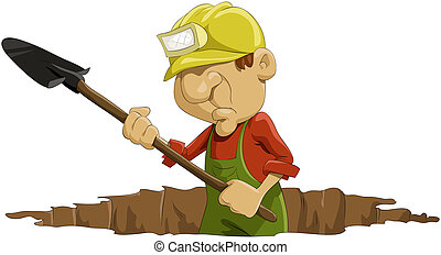 Navvy - The man digs a shovel a hole