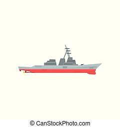 Navy battleship icon. Military ship with large-caliber...