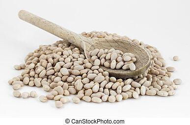 Navy beans in wooden spoon