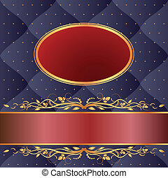 navy blue and maroon background with gold ornaments