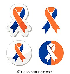 Navy blue and orange ribbons - Vector awareness ribbons...