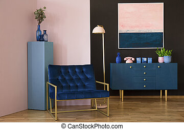 Navy blue and pink interior