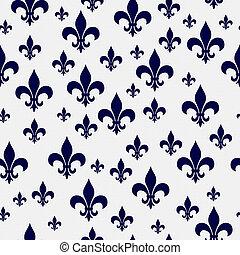 Navy Blue and White Fleur-de-lis Pattern Repeat Background ...