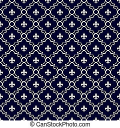 Navy Blue and White Fleur-De-Lis Pattern Textured Fabric...