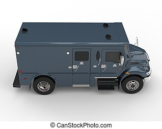 Navy blue armored transport truck - top down side view