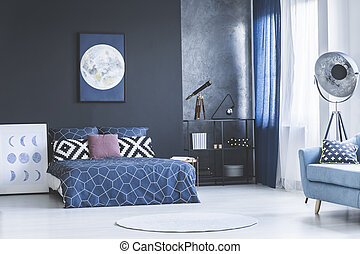 Navy blue bedroom interior