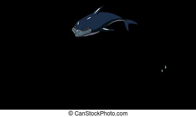 Navy Blue Dolphin Jump Out of the Water. Animated footage...