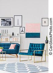 Navy blue living room interior