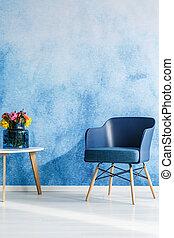 Navy blue minimal interior