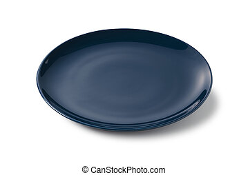 Navy blue plate placed on a white background