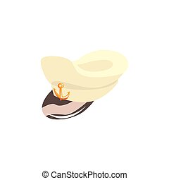 Navy captain hat vector Illustration isolated on a white...