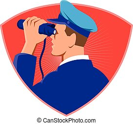 navy captain looking binoculars shield retro