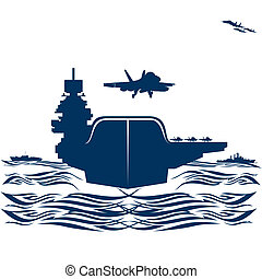 Navy. Military aircraft taking off from an aircraft carrier....