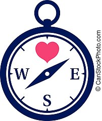 Navy colored compass icon with pink heart