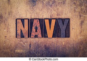 Navy Concept Wooden Letterpress Type