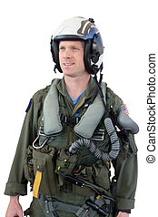 u.s. navy fighter pilot in full gear by his jet, i