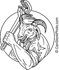 Navy Goat Holding Pipe Wrench Circle Black and White
