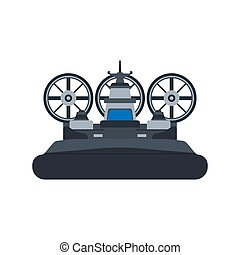 Navy hovercraft front view vector icon illustration. Boat sea transport water vessel speed. Isolated marine motor flat future carrier engine