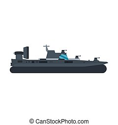 Navy hovercraft side view vector icon illustration. Boat sea transport water vessel speed. Isolated marine motor flat future carrier engine