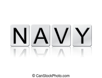 Navy Isolated Tiled Letters Concept and Theme