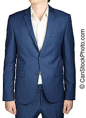 Navy mens casual suit,  isolated on white.