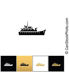 Navy military warship silhouette vector icon
