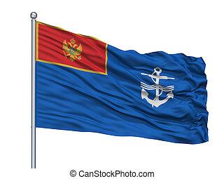 Navy Of Montenegro Flag On Flagpole, Isolated On White
