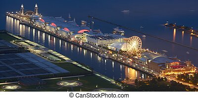 Navy Pier Chicago - Chicago Famous Pier. Chicago, IL, USA....