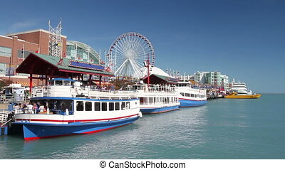 Navy Pier in Chicago - Ferry u2019s boarding at the famous...
