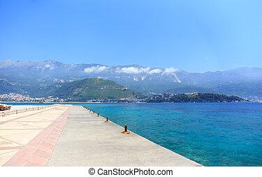 Navy pier on the island of St. Nicholas
