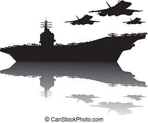Aircraft carrier and flying aircrafts detailed silhouettes. Vector EPS10