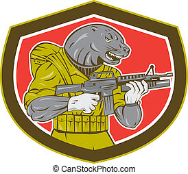 Navy Seal With Armalite Rifle Shield - Illustration of a...