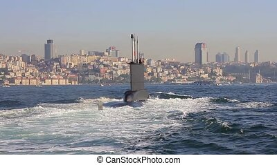 Navy Submarine moving into Bosporus waters. Tracking shot. Riding on the wake of the submarine