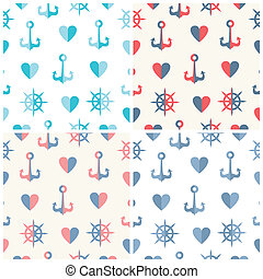 Navy vector seamless patterns set anchor, steering wheels and hearts