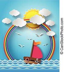 nawigacja, chmura, rainbow., łódka