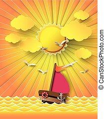 nawigacja, chmury, łódka, sunset.