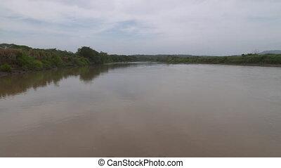 nawigacja, jasny, casanare, kolumbia, wzdłuż, rzeka