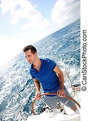 nawigacja, karaibski, młody, morze, człowiek
